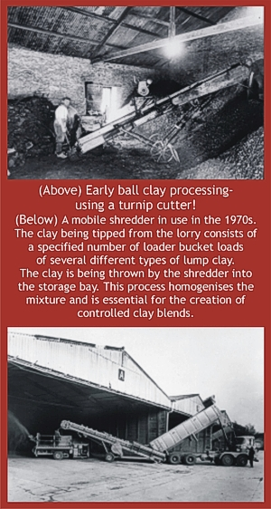 Shredding ball clay